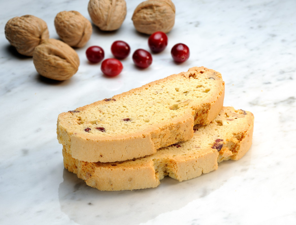 Mezzaluna Biscotti White Chocolate Cranberry Walnut Biscotti