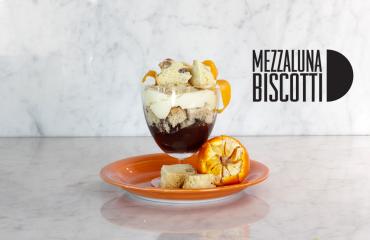 Mezzaluna Biscotti Salted Caramel Parfait
