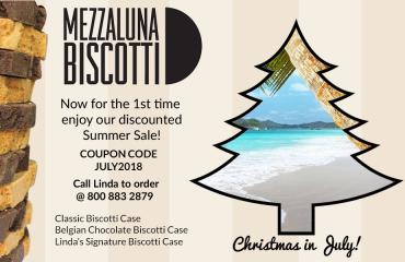 Biscotti Christmas in July | Mezzaluna Biscotti | Discount Coupon