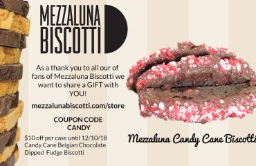 Mezzaluna Candy Cane Biscotti Promo Code Belgian Chocolate Fudge Dipped
