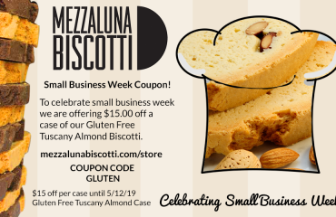 Small Business Week | Coupon | Mezzaluna Biscotti | Gluten Free Tuscany Almond Biscotti