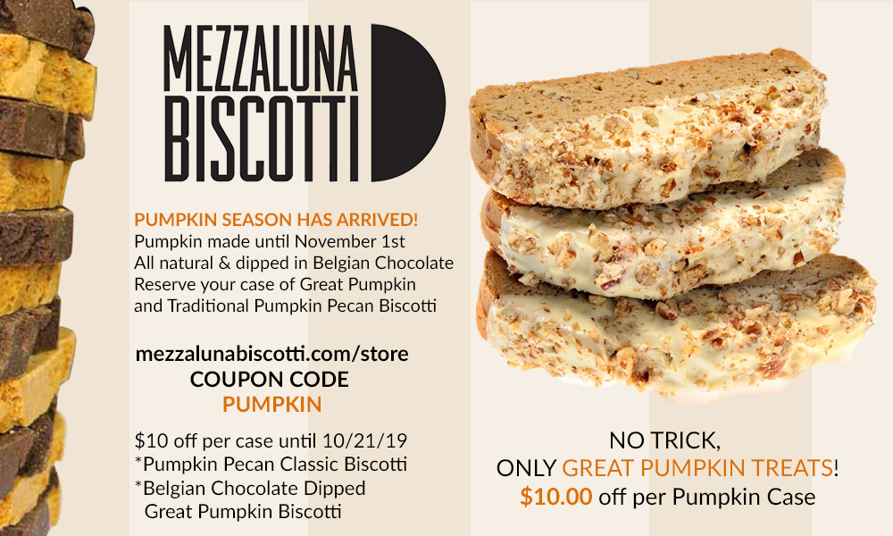 Mezzaluna Biscotti Pumpkin Spice Pecan Sale | Great Pumpkin Bisccotti | Traditional Pumpkin Biscotti